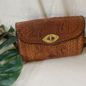 Vintage tooled boho leather purse